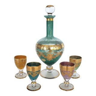 Murano, Italy Blown Glass Gilt Decanter & Goblet Set of 5 For Sale