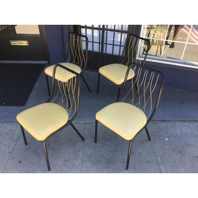 Metal Mid-Century Black & Brass Chairs - Set of 4 For Sale - Image 7 of 8