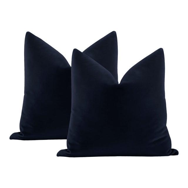 """22"""" Navy Blue Italian Velvet Pillows - a Pair For Sale"""