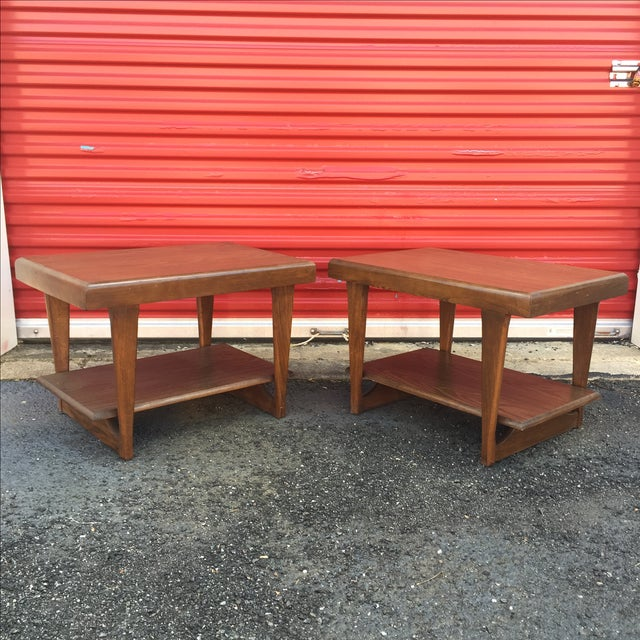 Mid-Century Modern Shelved Side Tables - A Pair - Image 2 of 7