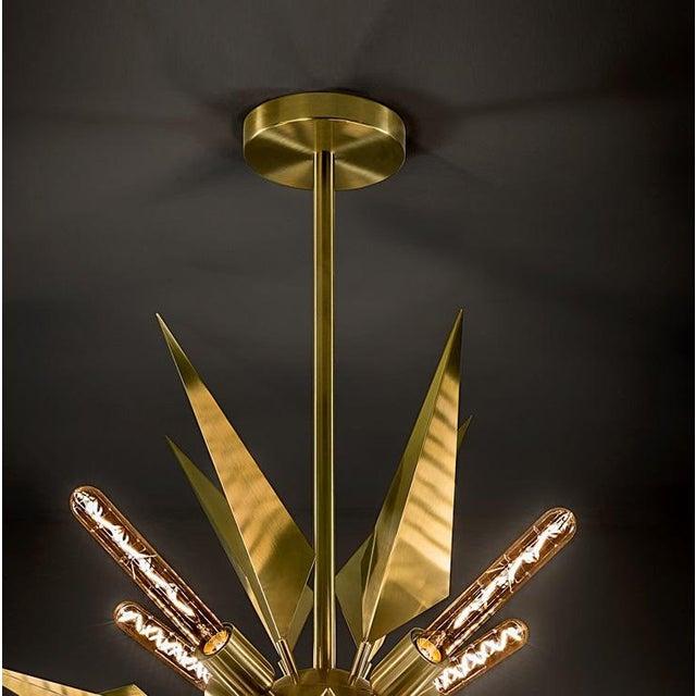 Brushed Brass Starburst Chandelier For Sale - Image 4 of 5
