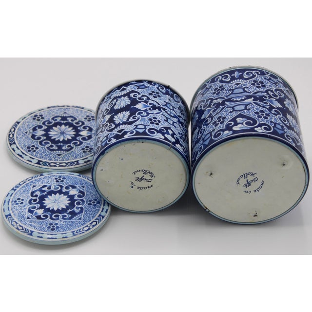 Floral Blue and White Delft Tole Lidded Nesting Canisters - a Pair For Sale - Image 6 of 12