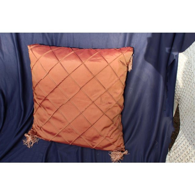 Late 20th C. Down Argyle Pattern Pillow For Sale - Image 4 of 4