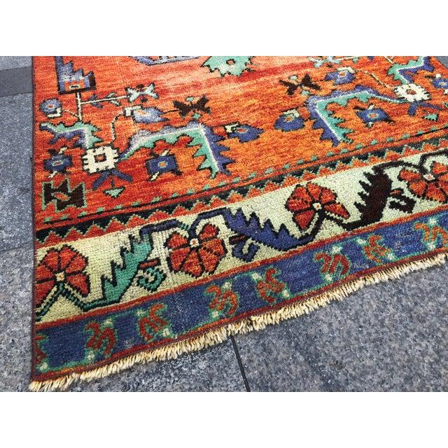Orange Turkish Handmade Hallway Runner Rug For Sale - Image 8 of 10