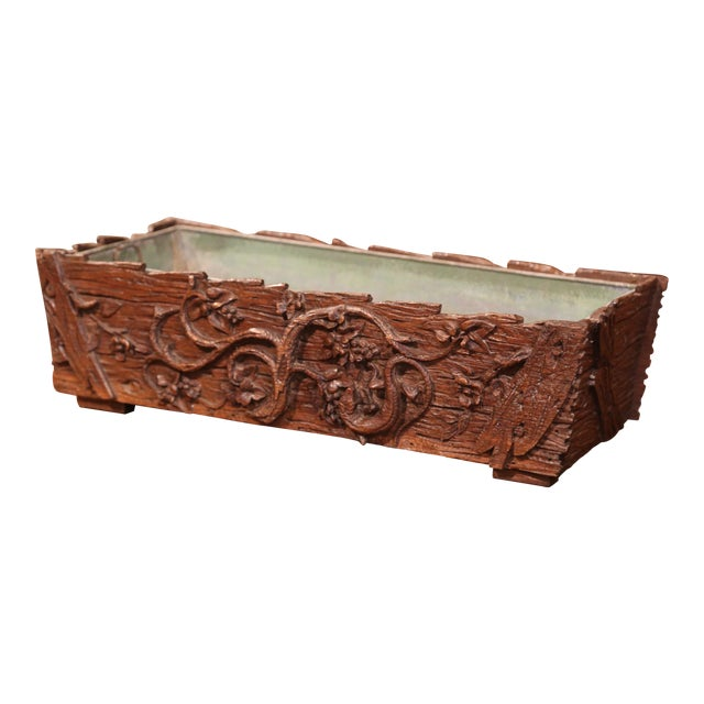 19th Century French Black Forest Carved Walnut Jardiniere With Zinc Liner For Sale