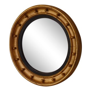 19th Century English Giltwood Convex Mirror For Sale