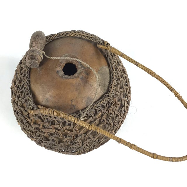 Gourd Primitive Javanese Hand Woven Covered Gourd Container For Sale - Image 7 of 11