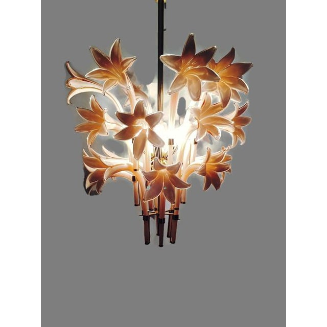 Vintage Pink Lily Murano Chandelier - Image 9 of 10