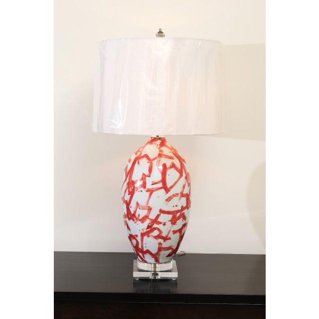 Mid-Century Modern Graphic Pair of Large-Scale Ceramic Vessels as Custom Lamps For Sale - Image 3 of 11