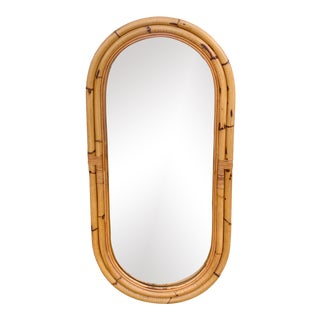Vintage Coastal Bamboo Oval Mirror For Sale