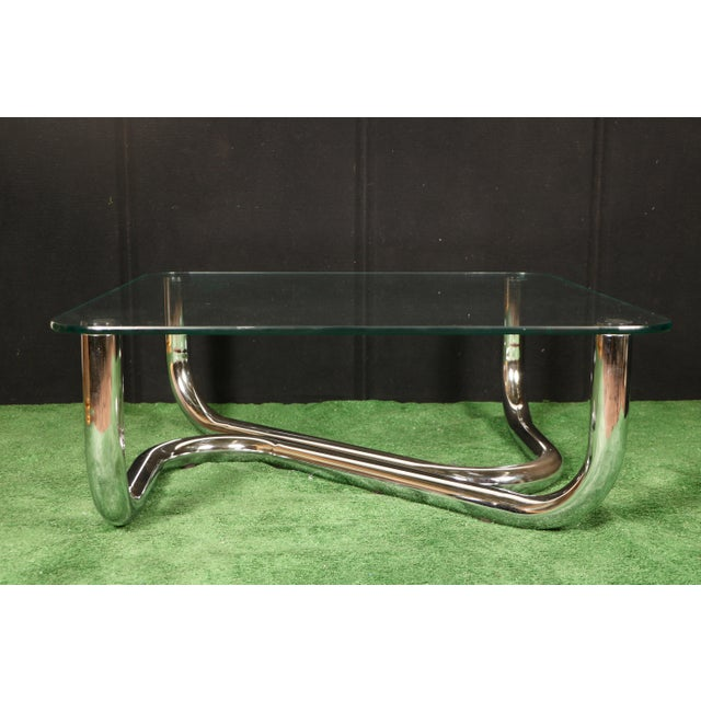 Modern Chrome Tubular Coffee Table - Image 5 of 11