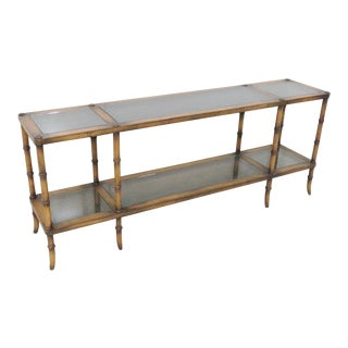 Boho Chic Faux Bamboo Cane Glass Top Console For Sale