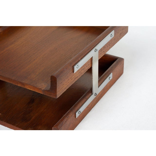 1960s Two-Tier Walnut Paper Tray For Sale In Los Angeles - Image 6 of 7