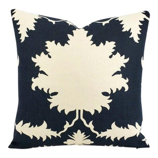 "Persian F. Schumacher Garden of Persia in Bleu Marine Pillow Cover - 20"" X 20"" For Sale"