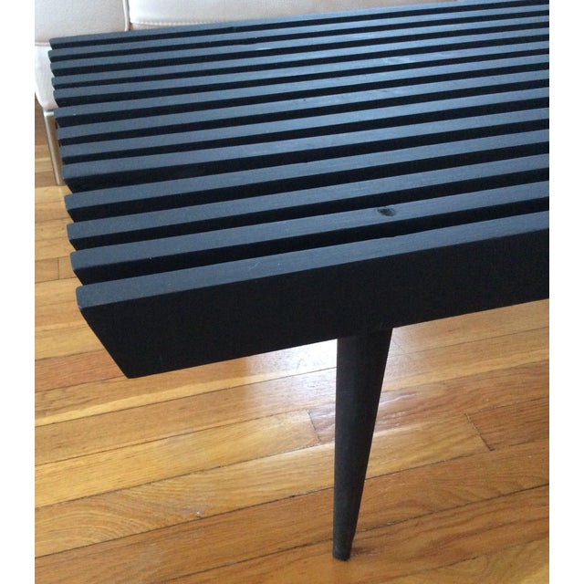Mid-Century Modern Long Black Wooden Bench - Image 6 of 8
