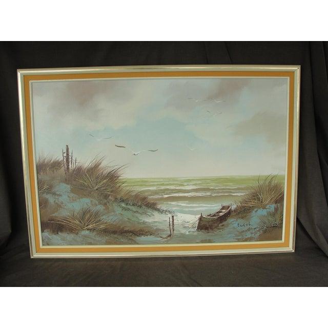 Engel Vintage Oil On Canvas Beach Seascape Painting Chairish