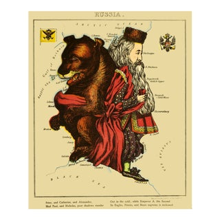 1869 Geographic Fun: Russia as a Classic Bear For Sale