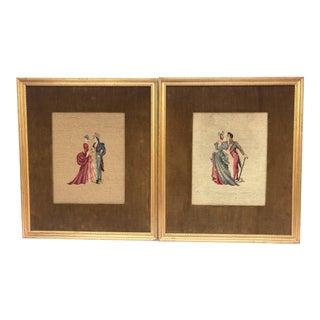 Victorian Needlepoint Art - a Pair