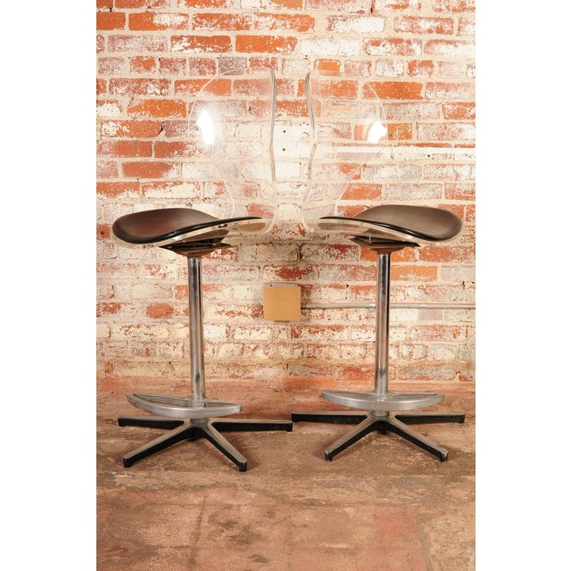Mid-Century Modern Mid-Century Lucite & Leather Bar Stools -- A Pair For Sale - Image 3 of 10