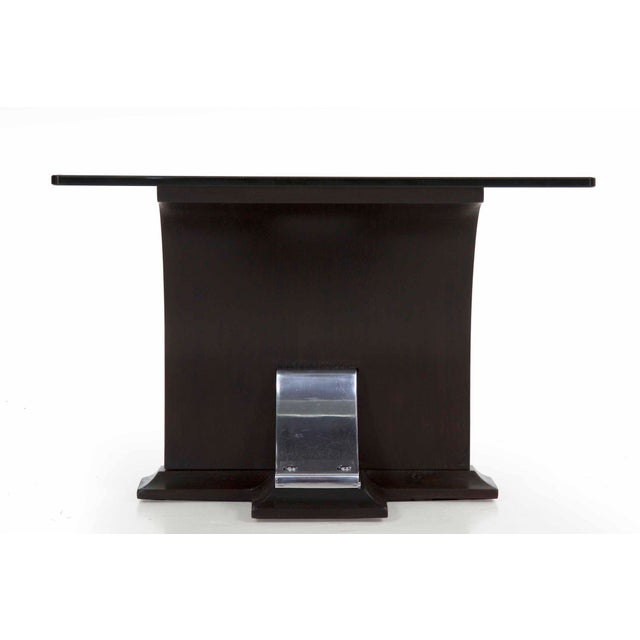 Art Deco Art Deco Walnut and Aluminum Side Table For Sale - Image 3 of 13