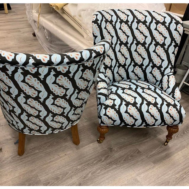Upholstered Peacock Print Chair For Sale - Image 4 of 8