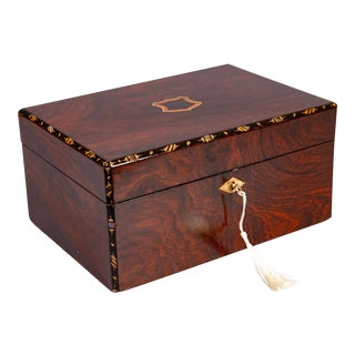 19th-Century English Rosewood & Mother of Pearl Box, Lock & Key For Sale