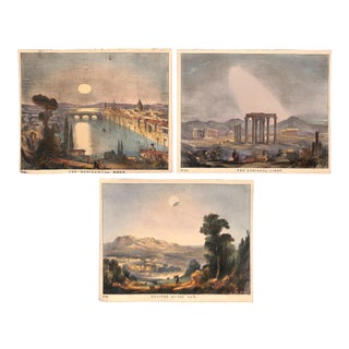 Solar Eclipse Moon Zodiacal Light, Set of 3, Antique Prints 1845, Matted For Sale