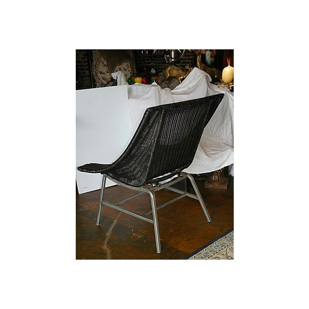 Modernist Wicker & Aluminum Lounge Chair - Image 5 of 6