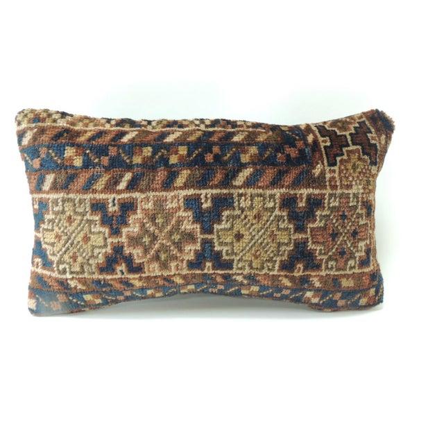 Boho Chic Vintage Bidjar Rug Fragment Decorative Lumbar Pillow For Sale - Image 3 of 3