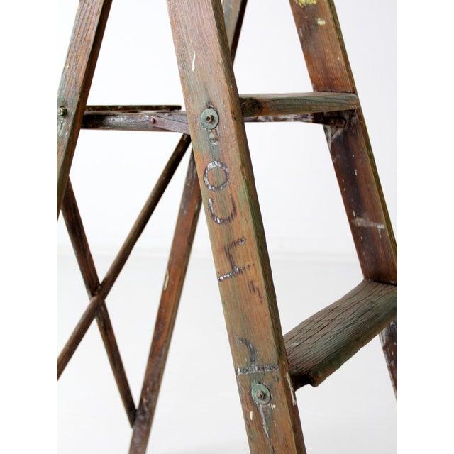 Green Vintage Green Wood Ladder For Sale - Image 8 of 9
