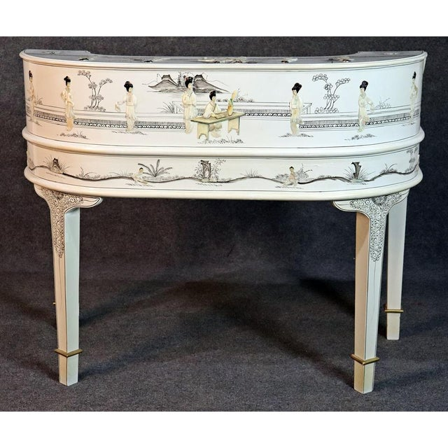 White Chinoiserie Carlton House Desk For Sale - Image 10 of 13