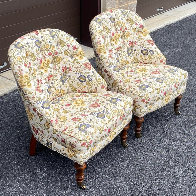 Tufted Floral Slipper Chairs - a Pair For Sale In Philadelphia - Image 6 of 13