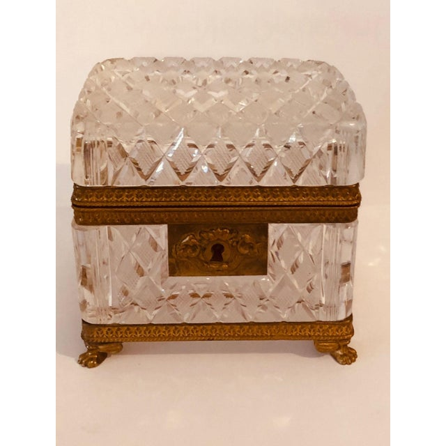 A Baccarat crystal box with ormolu latch and trim. Signed made in France. Circa 1900.