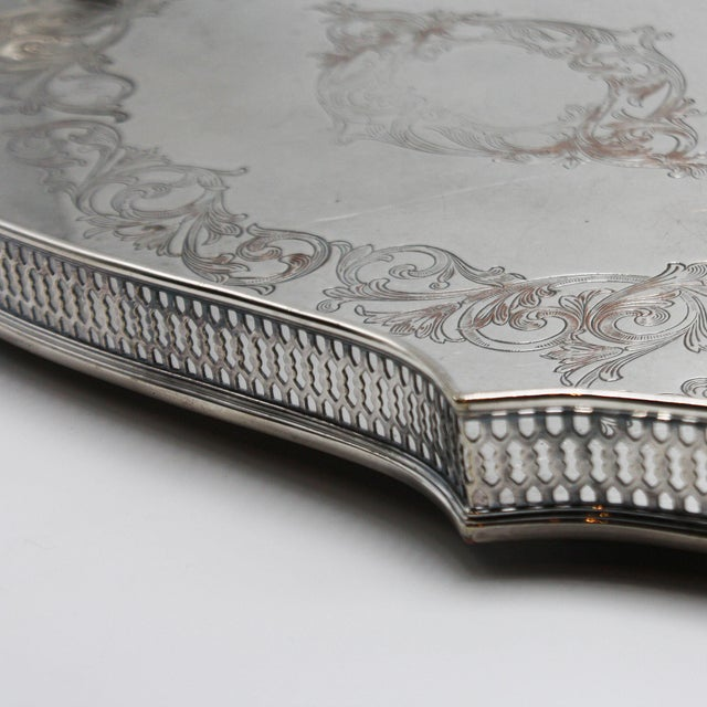 1940s Silver Plated Pierced Tray, C. 1940 For Sale - Image 5 of 8