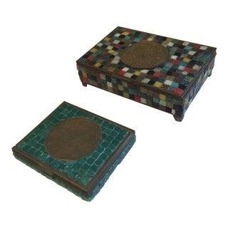 Artisan Brass & Mosaic Mexican Boxes - A Pair