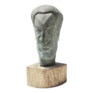 Carved Granite Satyr Head For Sale