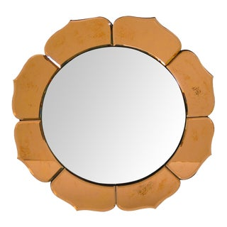 French Art Deco Convex Mirror with Peach Colored Mirrored Petals For Sale