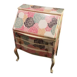 Peony Clad Drop Leaf Desk For Sale