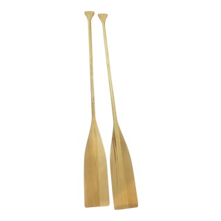 Tan Wood Oars - A Pair