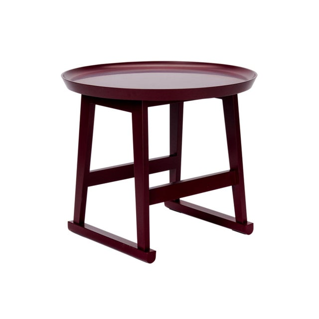2020s Red Matte Shellac Round Side Table, B&b Italia For Sale - Image 5 of 5