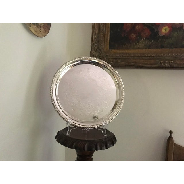 Vintage WM Rogers Silver-Plate Round Tray For Sale - Image 4 of 13