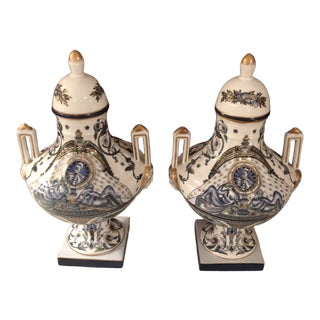 Neo Classical Style Blue 24 Karat Gold Trim Urns - a Pair For Sale