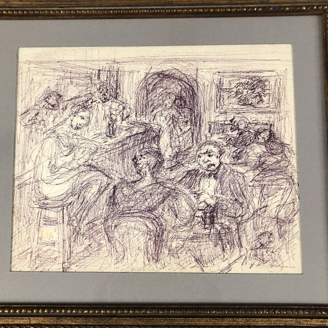 Original Ink Drawing on paper Unsigned Interior 8.25 x 10 Overall size with vintage frame is 13 x 15