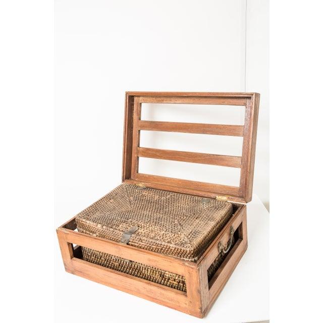 Antique Rattan & Teak Picnic Basket - Image 7 of 7