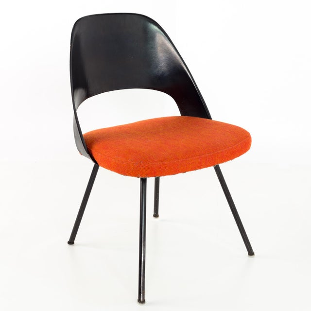 Orange Vintage Early Saarinen for Knoll Plastic Back Armless Executive Side Desk Chair For Sale - Image 8 of 8