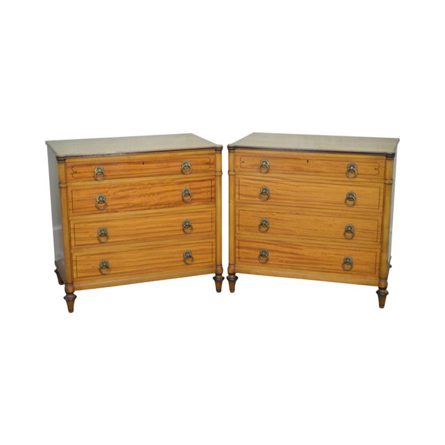 Kittinger Regency Style Pair of Satin Wood Chests of Drawers For Sale - Image 13 of 13