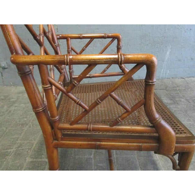 Pair of Chinese Faux Bamboo Chippendale Style Armchairs For Sale In New York - Image 6 of 7