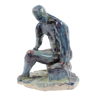 Seated Male Figure Blue, Purple, Moss Green, Gray, and Brown Ceramic Sculpture For Sale
