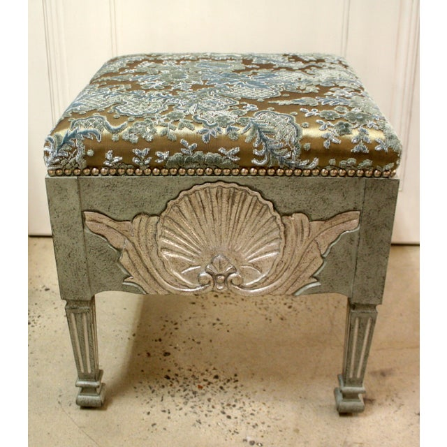 Traditional Swedish Stool With Shell Carving For Sale - Image 3 of 3
