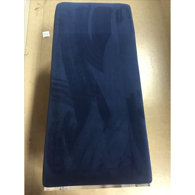 Navy Blue Velvet Bench Ottoman With Lucite Base - Image 6 of 6